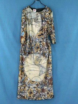 二手專櫃品牌SHUN MEI咖啡色花樣 網紗套裝L號