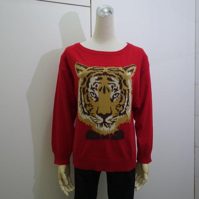 ☆注目の日本專櫃品牌NOT  春夏新款紅色圓領虎頭衛衣長袖針織衫☆