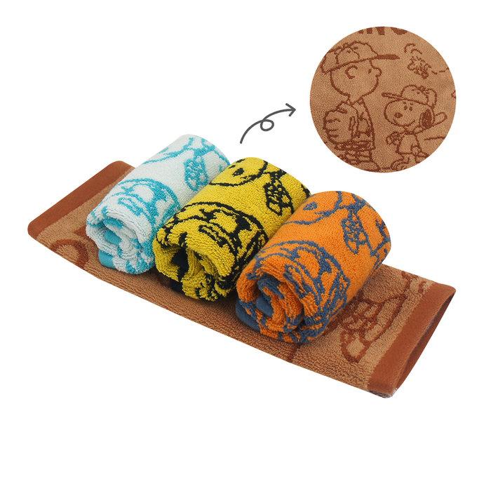 (大方巾2+毛巾2)(棒球款)SNOOPY史努比 純棉撞色緹花方毛巾MORINO摩力諾 免運