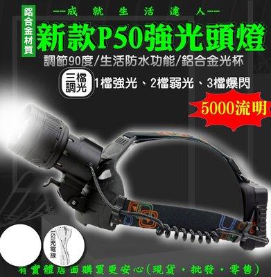 27105-137-興雲網購【新款P50強光頭燈+USB線單賣】5000流明 P50強光魚眼 手電筒 照明頭燈 工作燈