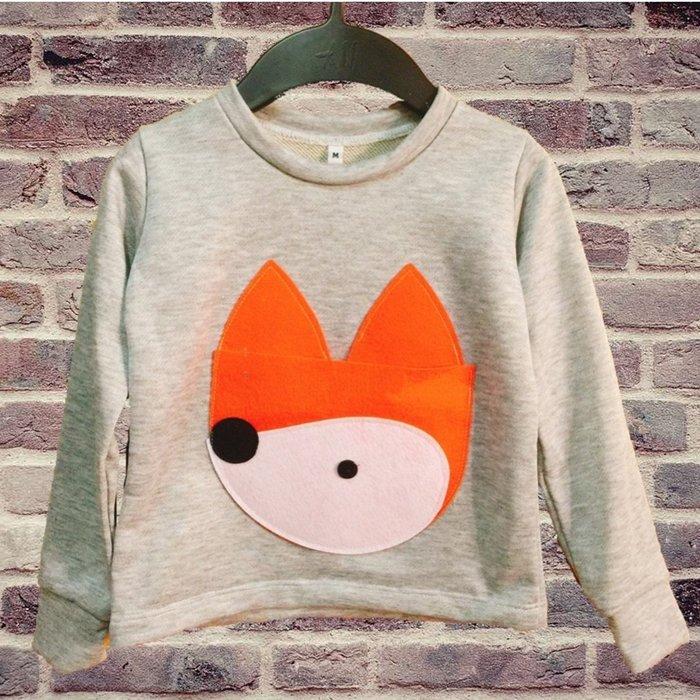 泰國設計製造手做 童裝 純棉 長袖 - 狐狸 (前口袋可開)
