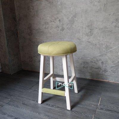 美希工坊獨創商品 大吉圓凳吧台椅 AUSPICIOUS BAR STOOL/最舒適坐感/洗白椅架/亞麻抹茶綠