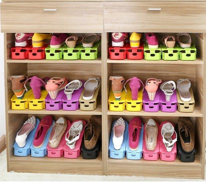 10個裝雙層可調節收納鞋架鞋托架塑料一體式鞋子收納架神器HPXW