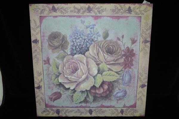 【布拉格歐風傢俱】鄉村風仿舊油畫筆觸木底框盛開玫瑰掛畫 繡球花 居家店面掛飾 禮物