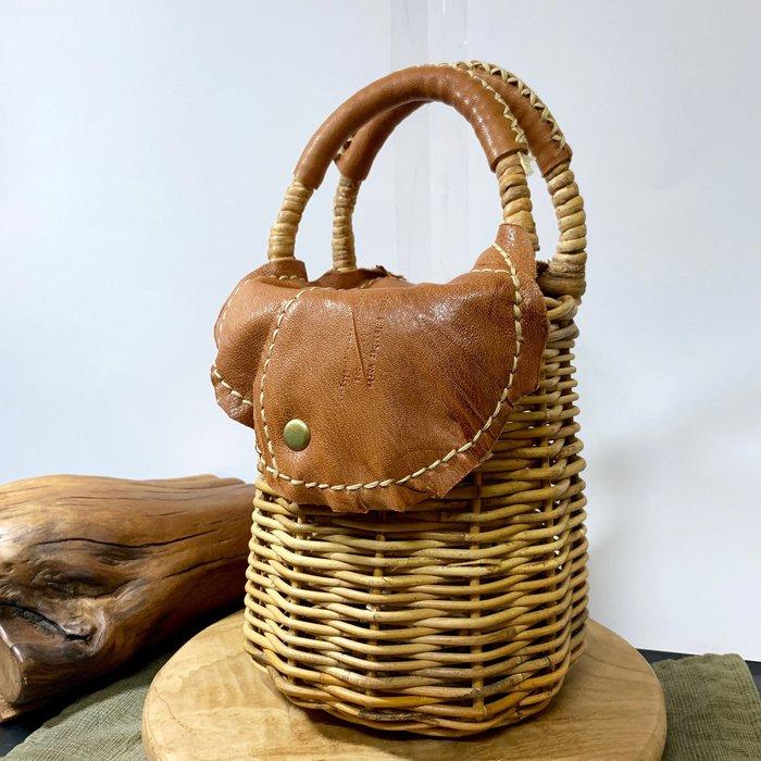 原裝進口 義大利小牛皮 編織藤藍  掀蓋式籐籃 全手工製作 野餐 日式雜貨