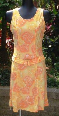 一元起標~【Chien專櫃】開滿熱帶花朵的黃色洋裝 ~OG