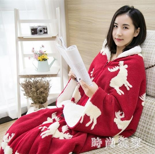 法蘭絨有袖懶人被子 毛毯披肩斗篷冬季辦公室午睡蓋毯睡袋zzy6450--獨品飾品吧☂