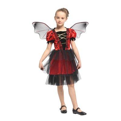 乂世界派對乂萬聖節服裝-兒童變裝服-紅黑蝙蝠小公主
