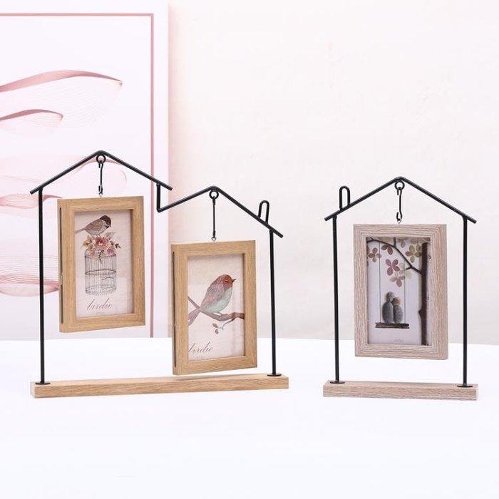 創意北歐個性6寸鐵藝相框擺臺 ins連體組合雙面相架臥室客廳擺件