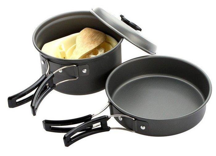 鋁合金1-2人鍋具 便攜式套鍋戶外套鍋野炊套鍋野營 露營個人鍋具 炊具2人餐具