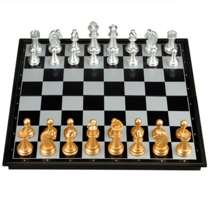 西洋棋國際象棋套裝折疊棋盤初學者成人兒童磁性棋送(中)_☆找好物FINDGOODS☆