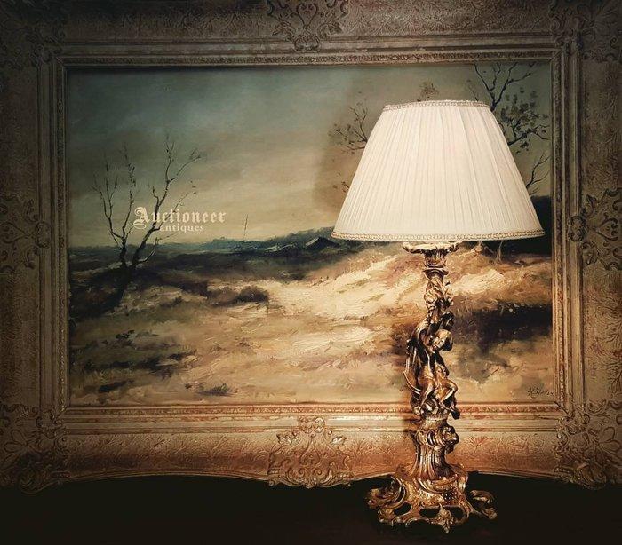 【拍賣師古董市集】歐洲古董1900年代法國小天使銅雕桌燈