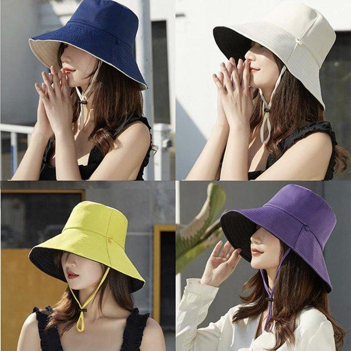 2020網紅防晒遮陽雙色雙面漁夫帽(附贈抽繩(顏色隨機)