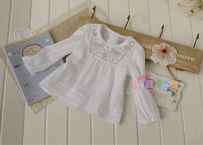 ❤厤庭童裝舖❤最後二件【E480】白色領口蝴蝶棉質長袖T恤/上衣(12-18M)