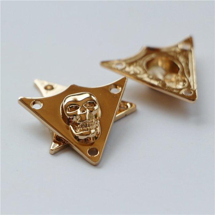 衣萊時尚-三角形骷髏淺金色手縫DIY配件衣角外套紐扣扣子服裝配飾合金輔料(規格不同價格不同)