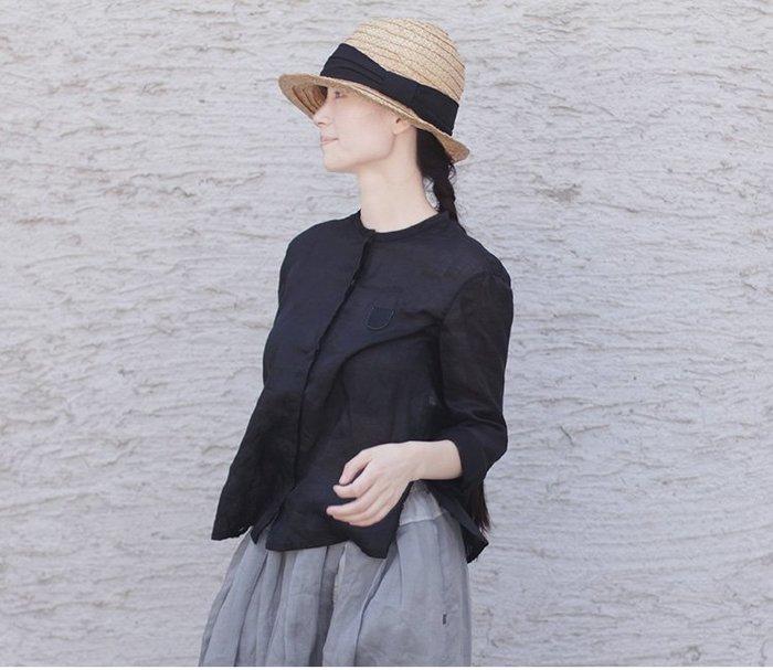 質樸的奢華♥ 夏季輕薄苧麻黑色小立領暗門襟側開叉紐扣小寬松襯衫