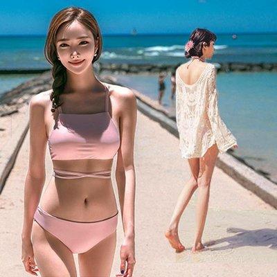 泳裝 比基尼 泳衣 韓國同款性感罩衫繫綁帶復古比基尼泳衣