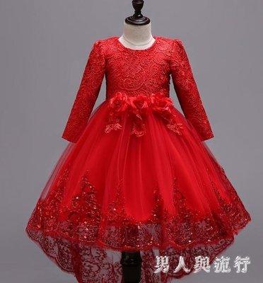 中大尺碼花童禮服  公主裙拖尾加絨女童演出服冬走秀主持人鋼琴比賽 DR9424