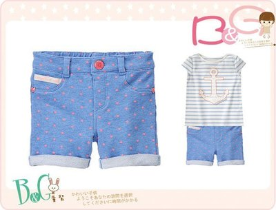 【B& G童裝】正品美國進口GYMBOREE Dot Cuffed Bemuda 粉紅點點圖樣藍色短褲4,5y