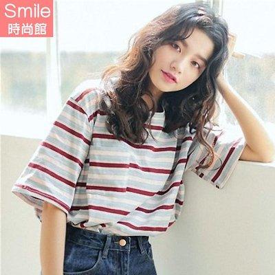 【V2839】SMILE-青春洋溢.橫條紋圓領五分袖上衣