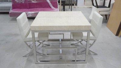白鐵造型 石面餐桌椅組 2人餐桌 四方餐桌 金屬製餐桌 飯桌 餐桌 會議桌 工作桌 情人餐桌椅組 一桌2椅