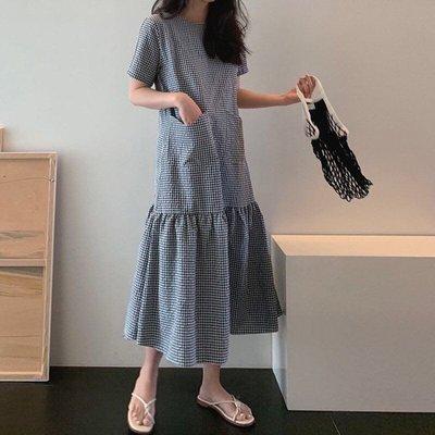 格子洋裝韓版寬鬆格紋拚接荷葉裙襬長洋裝大擺長裙連身裙(新品)預購