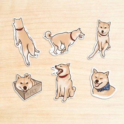 《柴犬II》/ 原創-防水貼紙包 1組(6入)  / 蒼蠅星球 / 手創市集