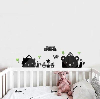 熊貓揮手 壁貼 立體壁貼 壓克力壁貼 貓 熊 派對 盆栽 幼稚園 幼兒園 嬰兒房 小孩房 佈置 居家設計 室內設計