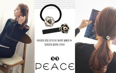 【PEACE33】韓國空運進口。高貴小香風 黑白玫瑰花朵 髮束/髮圈/髮夾/鴨嘴夾 髮飾。現+預