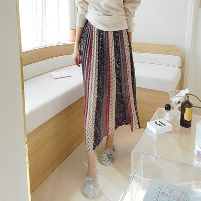 百褶裙 韓風 百褶印花修身拉長身型條紋長裙 艾爾莎【TA680420】