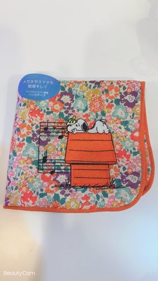 春風吉野家~日本空運來台 粉可愛的史努比小花圖案隨身小手帕~批發價超低價出售
