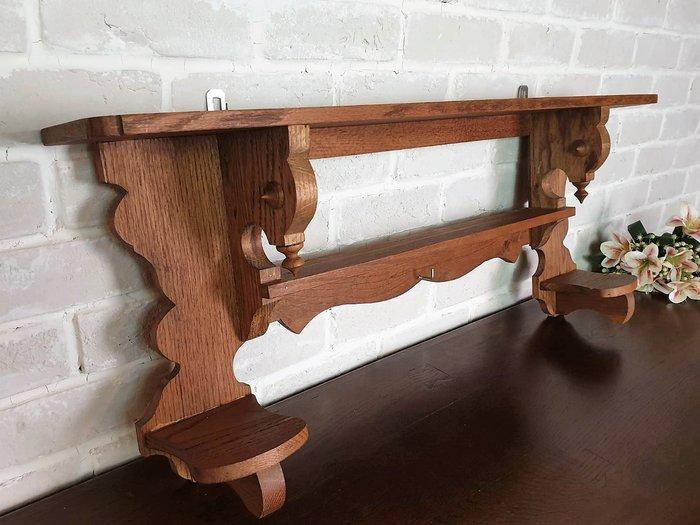 【卡卡頌 歐洲古董】西班牙老件 漂亮木紋 老橡木  特殊雕刻  壁掛層架  壁掛架 ss0616 ✬