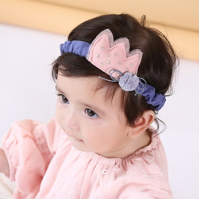 ☆草莓花園☆B39新款嬰兒女童 星星棉布紗網 公主 百天照頭飾 嬰兒髮帶 髮冠 皇冠 造型周歲照 藝術照