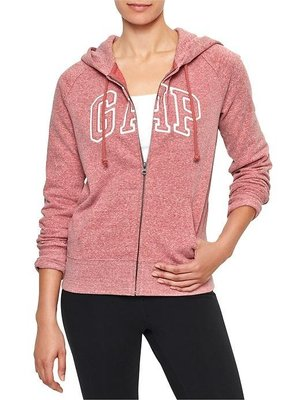 《Cupio》現貨 GAP raglan arch logo fleece 粉色簡約Logo刷毛帽T外套(XS)