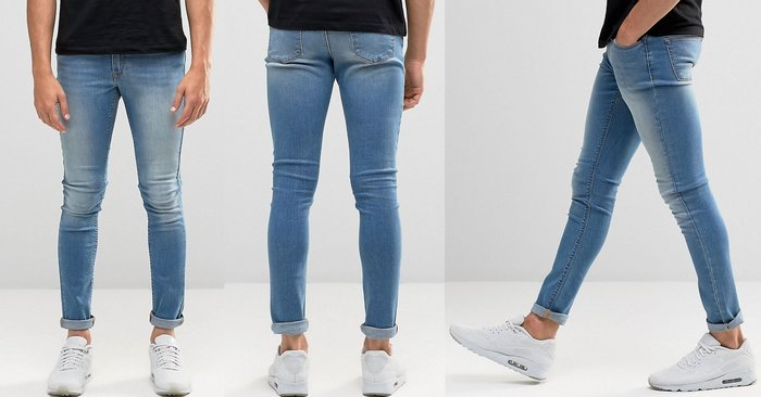 ◎美國代買◎ASOS 超顯廋好看復古淺藍可反摺褲管貼合身有彈性復古刷白淺藍色合身牛仔褲~歐美街風~大尺碼~