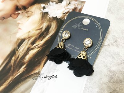 【海星 Starfish】韓風名媛款 金緻鑲鑽浪漫花朵耳環 (質感黑)