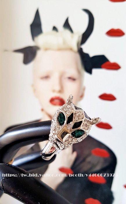 黑爾典藏西洋古董 ~ 歐美動物系列滿滿鑽綠馬眼.銀豹黑琺瑯戒 ~珠寶cartier卡地亞生日禮物