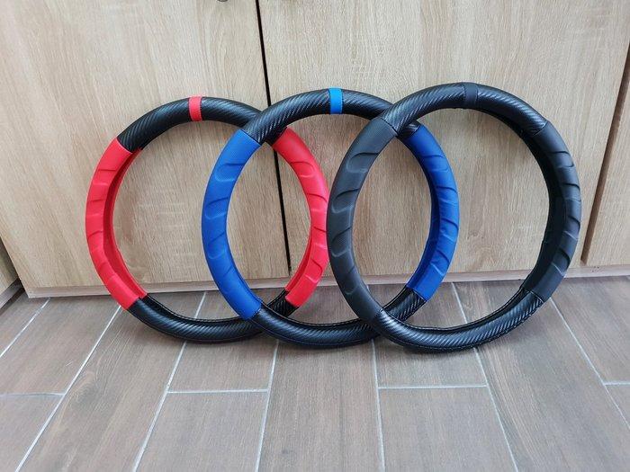 TOYOTA豐田【PREVIA方向盤皮套】紅色 藍色 黑色 皮套 轉向盤套 透氣 好握 轉盤皮革套 保護 碳纖紋卡夢內装