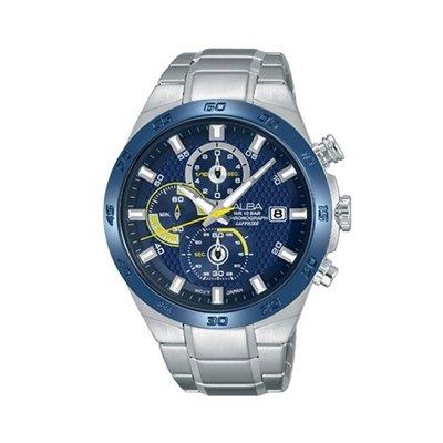 可議價「1958鐘錶城」ALBA雅柏 ACTIVE 男 三眼計時 石英腕錶(AM3339X1) 43mm