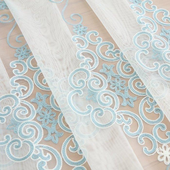 精緻小店.Fine shop--高檔北歐現代簡約淺藍色毛巾繡花立體窗紗簾客廳臥室飄窗紗簾ins