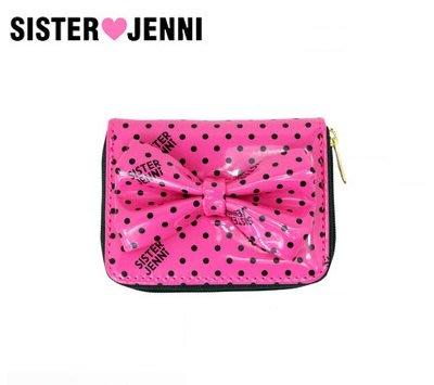 日本 SISTER JENNI 粉黑波點光感膠面布 大蝴蝶結 銀包 ( $120 包順豐 )