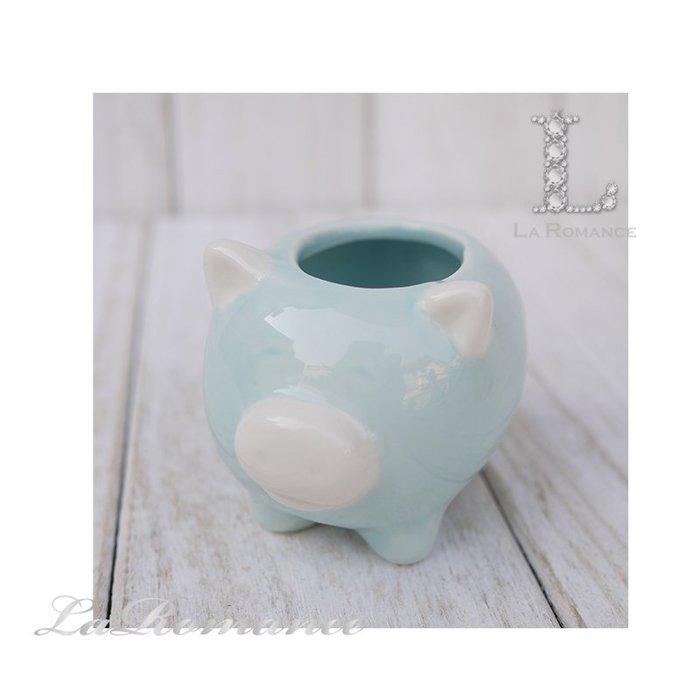 【義大利 EDG 特惠系列】 小豬陶瓷迷你花器 (藍) / 盆栽 / 庭院 / 童趣