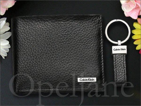 台灣現貨出清1599元真品 Calvin Klein CK卡文克萊防刮真皮黑色ID中夾短夾皮夾+鑰匙圈 愛Coach包包