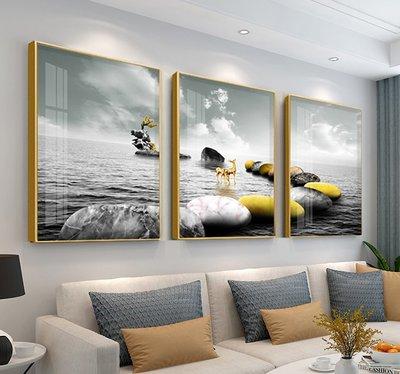 北歐客廳裝飾畫 三聯畫 訂金1300 鋁合金黑色框+晶瓷玻璃面
