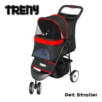 【TRENY直營】TRENY 快速收合 高級寵物推車-紅 附杯架跟置物籃 寵物車 狗推車 貓推車 YB501-R