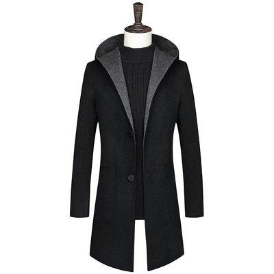 毛呢大衣 中長版風衣-黑色連帽羊毛修身男外套73wk17[獨家進口][米蘭精品]