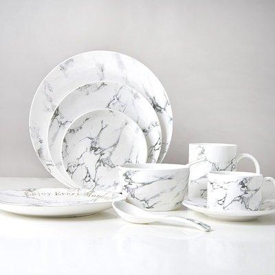 菜碟餐盤 北歐黑紋大理石紋盤子 文字金邊陶瓷西餐盤子小吃盤 碗杯牛排盤