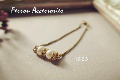 Ferron Accessories【春.嚮】 B25 珍珠鋯石手鍊 訂製 Handmade 復古 歐美 黃銅