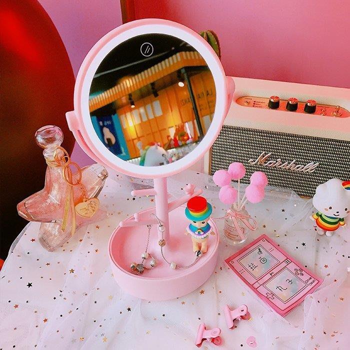 YEAHSHOP 日系原宿風補妝鏡化妝鏡帶燈臺式公主鏡桌面Y185