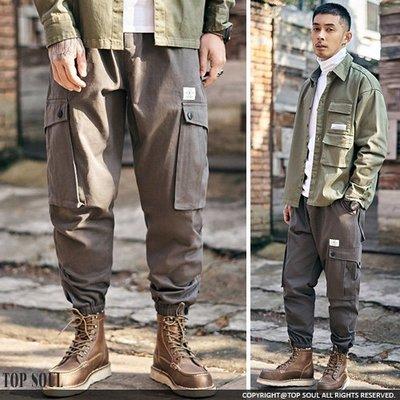寬鬆褲 窄管褲 軍裝褲 鬆緊鐵釦設計工...